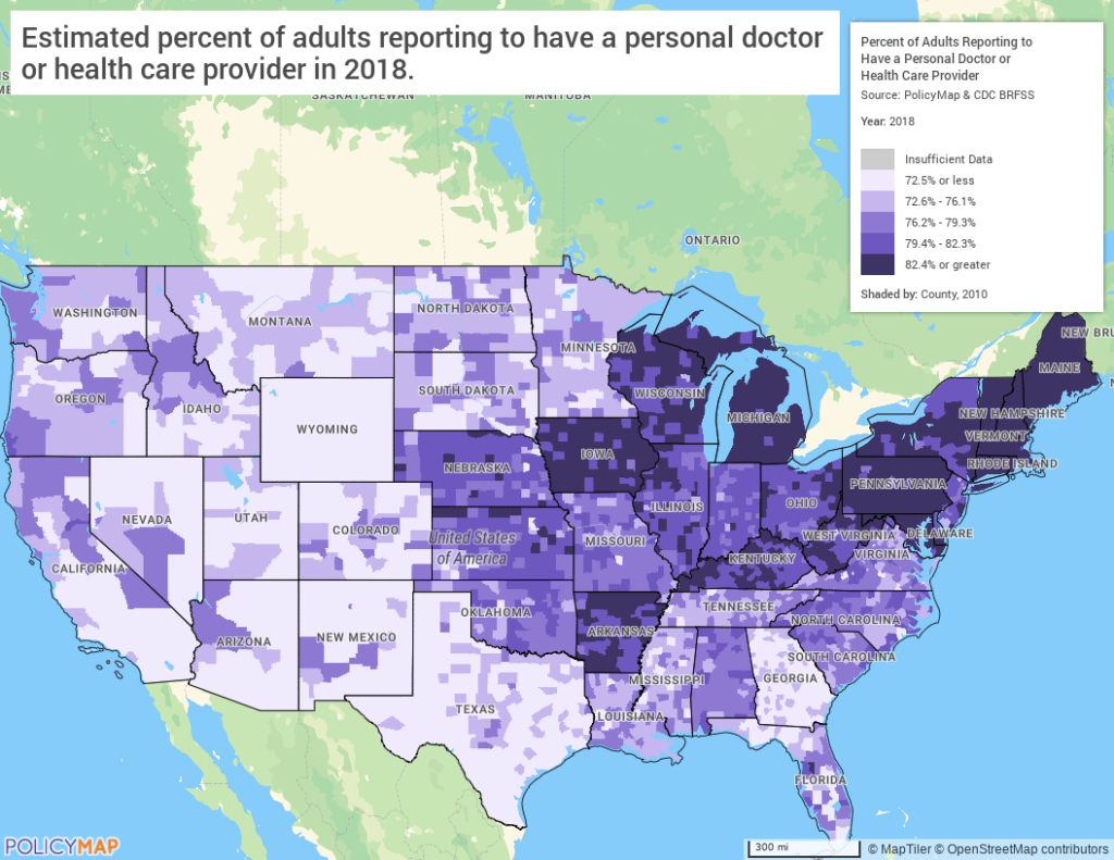 Map of Access to Primary Care In United States